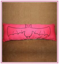 Handmade Screenprinted Decorative Throw Pillow Bat Print Floral Halloween
