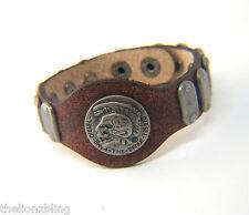 Urban Biker Vintage Style Genuine Brown Leather Mohawk Skull DIESEL Bracelet