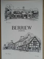POSTCARD MONTGOMERYSHIRE BERRIEW - POWYS - MULTI VIEW - PENCIL SKETCH