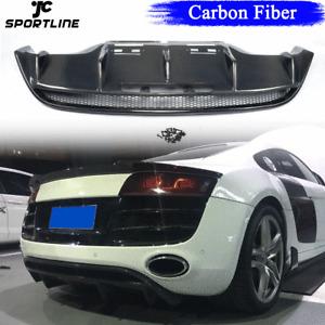 Carbon Fiber Rear Bumper Lip Diffuser Spoiler For Audi R8 GT V10 Coupe 2010-2015