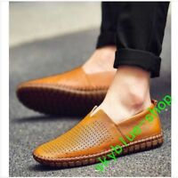 Breathable Mens Driving Boat Soft Shoes Leather Flats Moccasin Slip On Loafers