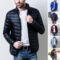 Men Lightweight Zipper Down Jacket Stand Collar Hooded Puffer Parka Coat Outwear