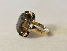 Vintage 14k Yellow Gold Faceted Oval Smokey Quartz Ring Size 5.5