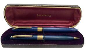 VINTAGE Sheaffer Snorkel Blue Fountain Pen Pencil Set 14k Gold Nib With Case