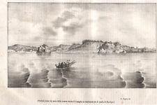 1843 Napoli Coroglio Posillipo litografia dal Poliorama