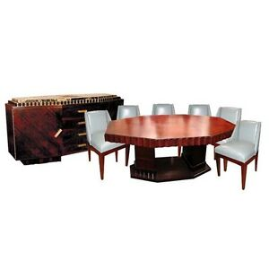 Fabulous 8-Pc. Rosewood Art Deco Dining Suite signed Jules Cayette #1164