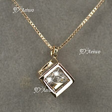 18K ROSE GOLD GF MADE WITH SWAROVSKI CRYSTAL CUBE PENDANT NECKLACE SMALL