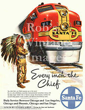 Santa Fe Little Chief ATSF Railroad Ad Print Poster 1948 train 8x11 Chicago-LA