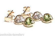 9ct Gold Green Peridot Heart Drop Earrings Gift Boxed Made in UK