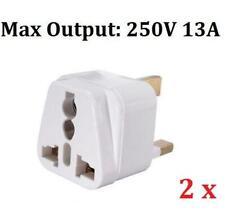 2 x Universal Travel Adapter AU US EU to UK Converter 3 Pin Plug Adaptor