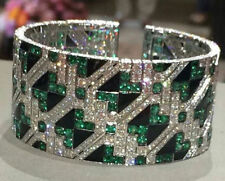 925 Sterling Silver Solid Beautiful Green White Braod Style Bracelet Best New