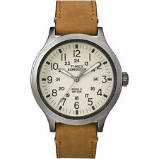 Mens Timex Indiglo Expedition Brown Leather Band Cream Dial Date Watch TW4B06500