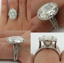 Sterling Silver 6.10Ct White Oval Cut Classic Diamond Halo Engagement Ring Solid