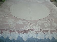 """antique hand crochet Mary Card tablecloth butterflies and grape vine 60""""square"""