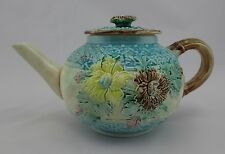Antique Victorian Floral Majolica Blue Teapot 19th Century
