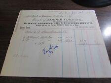 JASPER CORNING - RAILWAY, PLUMBERS, ENGINEERS SUPPLIES  - BILL HEAD - NYC 1886