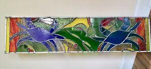 Stained Glass  Window Maryland Blue Crab Transom Suncatcher  Panel OOAK