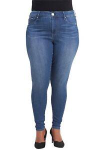 Seven7 Womens Plus Size Tummy-Less Slimmer Skinny Denim Jean, Ginsberg Blue