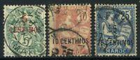 Marokko 1902 Yv. 11-12,14 Gestempelt 100% 5 centimos