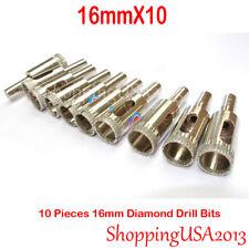 10 pcs 16mm Diamond Coated drill bit set tool hole saw cutter glass marble tile