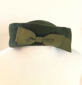Vintage Made in Italy Ladies Fascinator Hat Green with bow      1