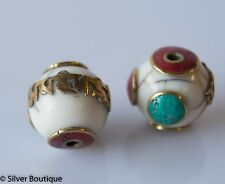Tibetan white crackle resin Beads Turquoise Coral Inlay Om Mantra Engraved 16mm