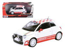 1/24 MOTORMAX Fiat Abarth 500 R3T Diecast Model Car Checker White 73379