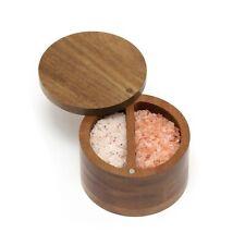 Lipper Acacia Wood Divided Salt Box w/ Swivel Cover Spice Household Item Storage