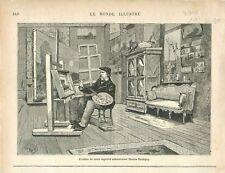 Atelier Peintre Charles-François Daubigny à Paris/ Impressionnisme GRAVURE 1878