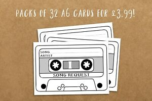 pack of 32 SONG REQUEST CARDS for wedding party DJ - retro cassette tape design