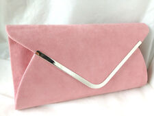 NEW PALE POWDER PINK FAUX SUEDE EVENING DAY CLUTCH BAG WEDDING CLUB PROM PARTY