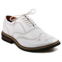 Metrocharm MET525-2 Men's White Perforated Wing Tip Lace Up Oxford Dress Shoes