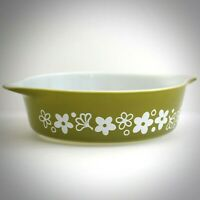 Pyrex Spring Blossom 471 Mid Century Green Pint Casserole Dish Ovenware Vintage