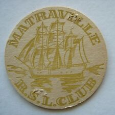 MATRAVILLE RSL CLUB SUB-BRANCH AND CLIYB TELEPHONE NUMBERS 6611993 COASTER