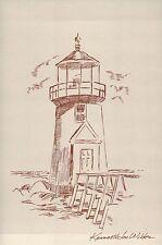Cape Cod Lighthouse, Massachusetts, artist Kenneth Jon Wildes, MA --- Postcard