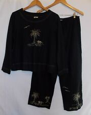 Ease Sport Capri Suit Linen Blend Elephant/Palm Tree Design 2 PC Ladies Size 10