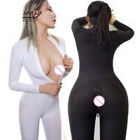 Dame White Striped Sheer Bodysuit Smooth Fiber 2 Zipper Long Sleeve Jumpsuit
