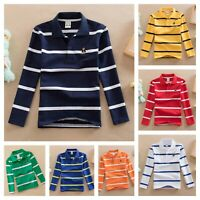 Boys Shirt Polo Spring Long Sleeve Striped Top Buttons Casual Kids Age 2-14 yrs