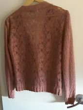 ARMAND VENTILO DUSTY PINK COTTON AND LACE CARDIGAN size M