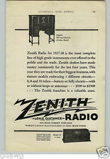 1927 PAPER AD Zenith Long Distance Radio Floor Console 10 Tube Deluxe Electric