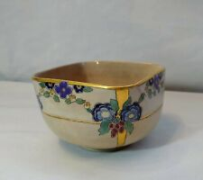 Early Antique Asian Japanese Pottery Square Shaped Bowl with Flowers and Gold!