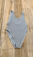 New Grey Ribbed High Cut Swimsuit Swimming Suit One Piece Size Medium