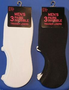 3 Pair Men's Trainer Shoe Liner Footsies No Show Gym Invisible Socks Size 6 - 11