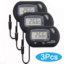 3X Aquarium Lcd Digital Fish Thermometer Water Terrarium Black Free Batteries