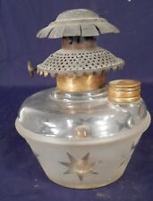 ANTIQUE VICTORIAN GLASS OIL LAMP WITH ORIGINAL FITTER HOLE IN THE BASE