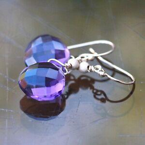 Purple Amethyst Earrings 14k Yellow Gold Filled, February Birthstone , 6th Anniv