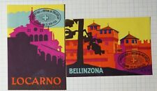 Bellinzona Switzerland Lugano Tourist 1934 Philatelic Souvenir Ad Label MH