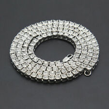 14k White Gold ICED OUT Lab Diamond 1 Row SILVER Chain Mens Tennis Necklace Hip