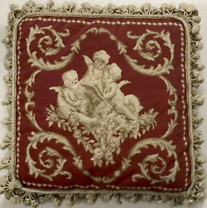 Needlepoint Pillow 3 Angels Petit Point Rose Feather Down Tassel Fringe Baroque