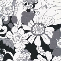 Accent on Color   Cotton Fabric Fabri-Quilt Black Floral  By the yard    BFab